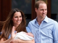 A king is born: The Duchess of Cambridge on July 23 held her newborn son, Prince George, who was born on July 22, outside St Mary's Hospital in London. George is third in line to the British throne after his grandfather Prince Charles and his father, Prince William.