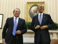 Nawaz-Obama shake hands in the White House where Sharif requests US President to halt drone strikes in Pakistan's tribal territories.